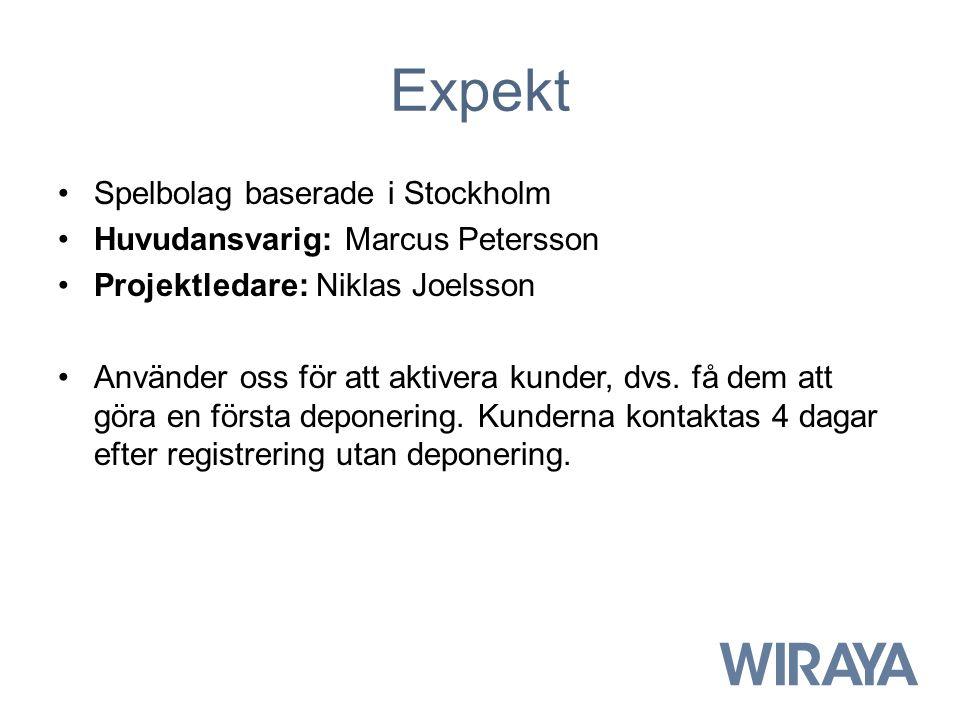 Expekt Spelbolag baserade i Stockholm Huvudansvarig: Marcus Petersson Projektledare: Niklas Joelsson Använder oss för att aktivera kunder, dvs. få dem