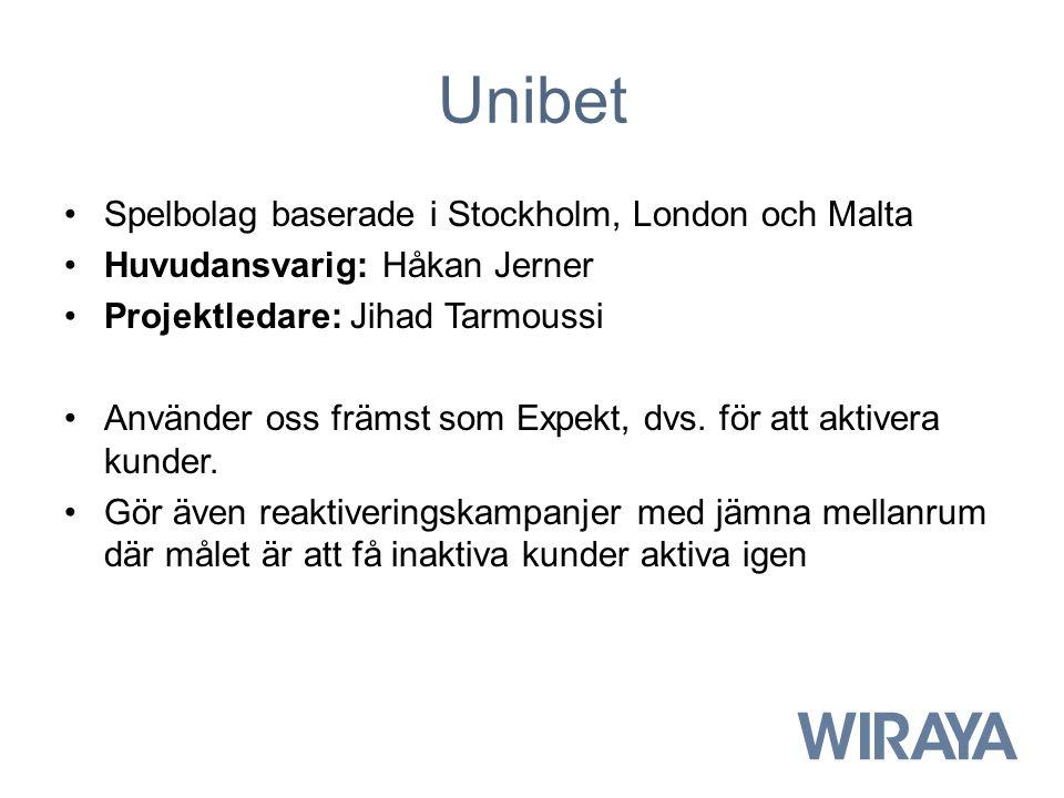 Unibet Spelbolag baserade i Stockholm, London och Malta Huvudansvarig: Håkan Jerner Projektledare: Jihad Tarmoussi Använder oss främst som Expekt, dvs.