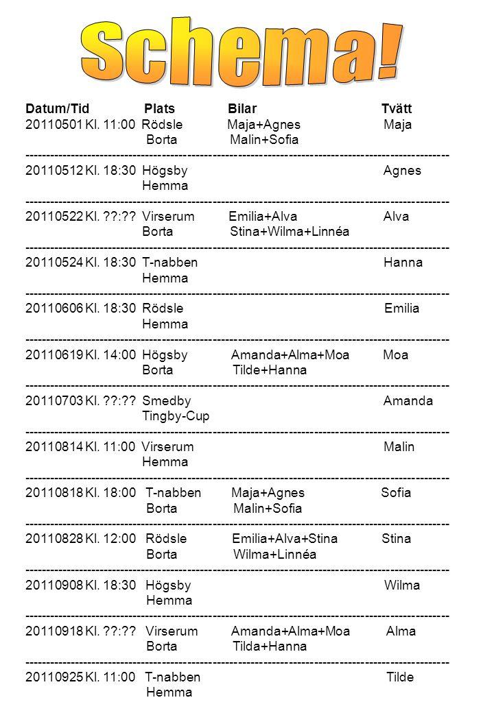 Datum/Tid Plats Bilar Tvätt 20110501 Kl.