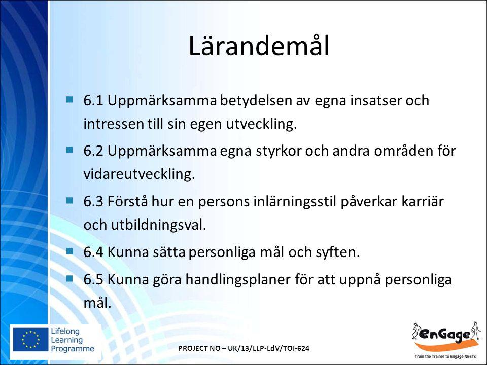 Lärandemål  6.1 Uppmärksamma betydelsen av egna insatser och intressen till sin egen utveckling.