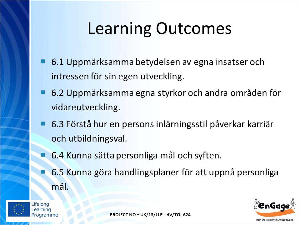 Learning Outcomes  6.1 Uppmärksamma betydelsen av egna insatser och intressen för sin egen utveckling.