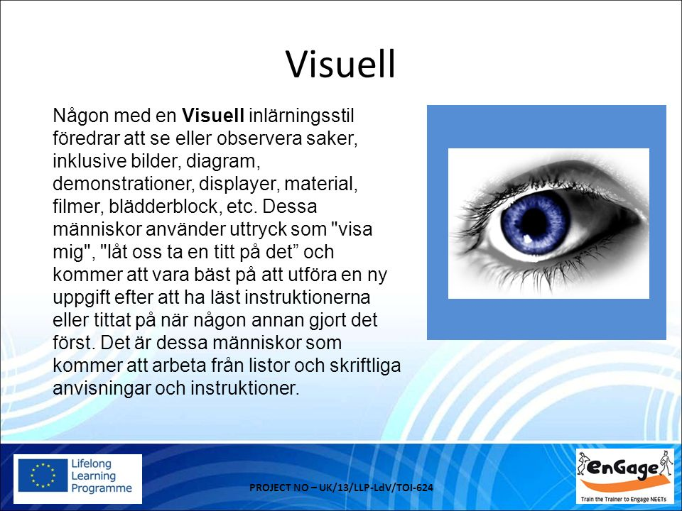 Visuell PROJECT NO – UK/13/LLP-LdV/TOI-624 Någon med en Visuell inlärningsstil föredrar att se eller observera saker, inklusive bilder, diagram, demonstrationer, displayer, material, filmer, blädderblock, etc.