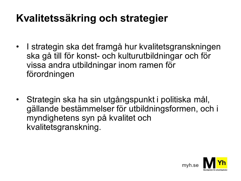 myh.se Kvalitetssäkring och strategier I strategin ska det framgå hur kvalitetsgranskningen ska gå till för konst- och kulturutbildningar och för viss