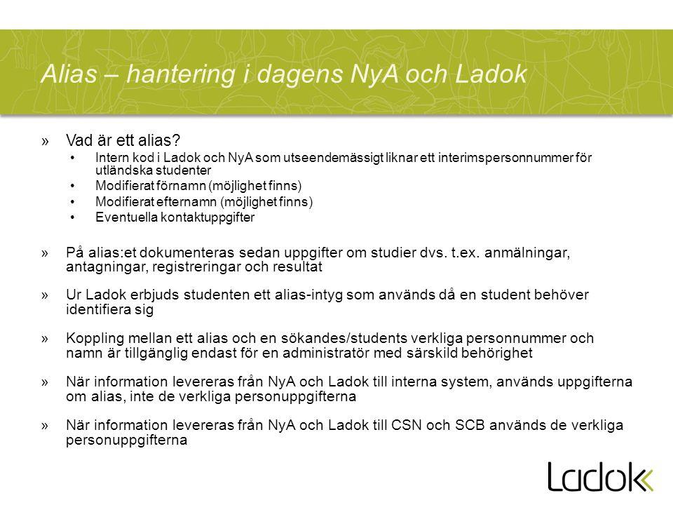 Alias – hantering i dagens NyA och Ladok »Vad är ett alias.