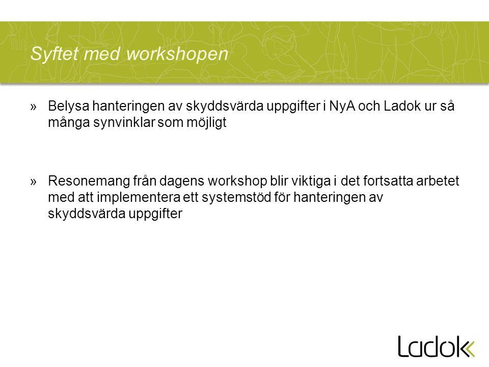 Syftet med workshopen »Belysa hanteringen av skyddsvärda uppgifter i NyA och Ladok ur så många synvinklar som möjligt »Resonemang från dagens workshop blir viktiga i det fortsatta arbetet med att implementera ett systemstöd för hanteringen av skyddsvärda uppgifter