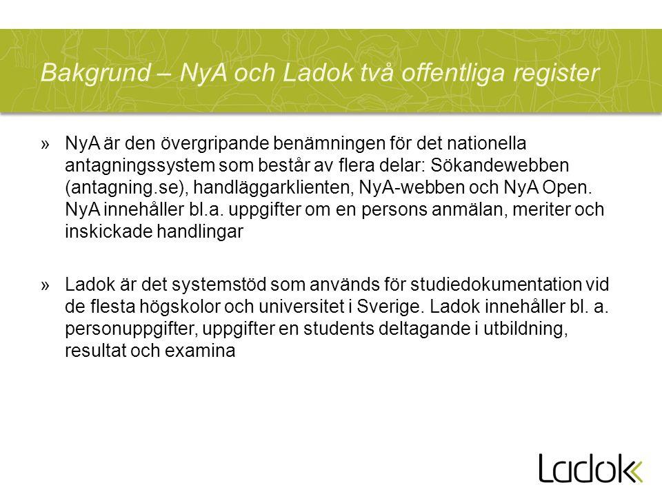 Bakgrund – NyA och Ladok två offentliga register »NyA är den övergripande benämningen för det nationella antagningssystem som består av flera delar: Sökandewebben (antagning.se), handläggarklienten, NyA-webben och NyA Open.