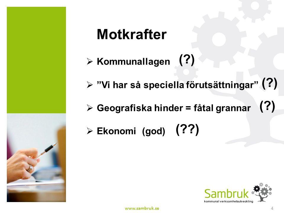 kommunal verksamhetsutveckling Motkrafter  Kommunallagen  Vi har så speciella förutsättningar  Geografiska hinder = fåtal grannar  Ekonomi (god) ( ) ( ) www.sambruk.se4