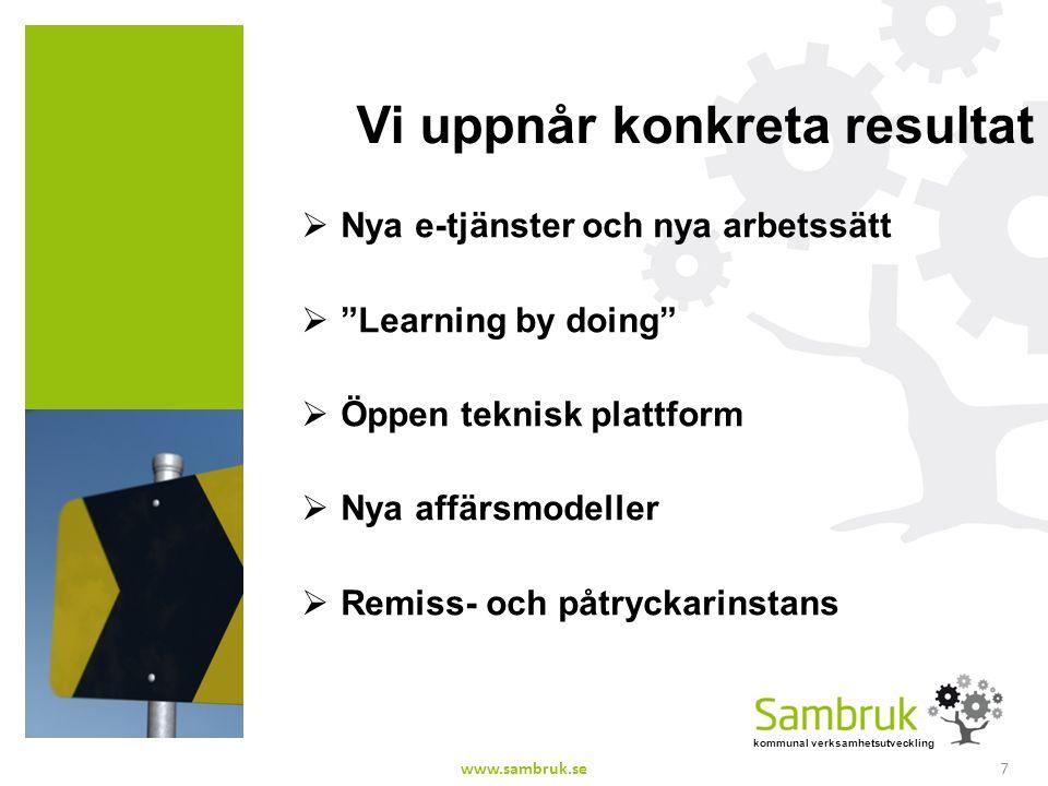 kommunal verksamhetsutveckling Vi uppnår konkreta resultat  Nya e-tjänster och nya arbetssätt  Learning by doing  Öppen teknisk plattform  Nya affärsmodeller  Remiss- och påtryckarinstans 7www.sambruk.se