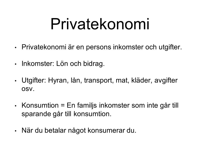 Privatekonomi Privatekonomi är en persons inkomster och utgifter. Inkomster: Lön och bidrag. Utgifter: Hyran, lån, transport, mat, kläder, avgifter os