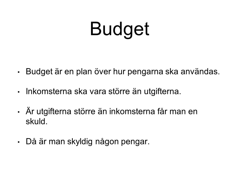 Budget Budget är en plan över hur pengarna ska användas. Inkomsterna ska vara större än utgifterna. Är utgifterna större än inkomsterna får man en sku
