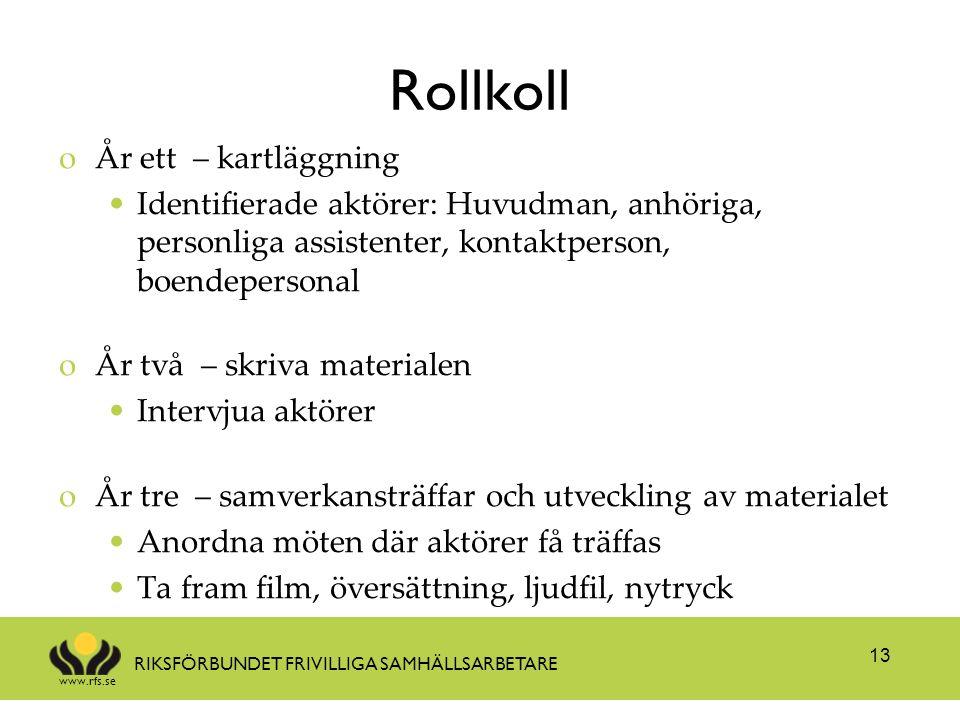 www.rfs.se RIKSFÖRBUNDET FRIVILLIGA SAMHÄLLSARBETARE Rollkoll oÅr ett – kartläggning Identifierade aktörer: Huvudman, anhöriga, personliga assistenter