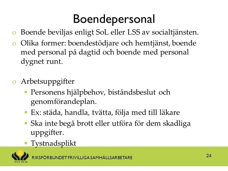 www.rfs.se RIKSFÖRBUNDET FRIVILLIGA SAMHÄLLSARBETARE Boendepersonal oBoende beviljas enligt SoL eller LSS av socialtjänsten. oOlika former: boendestöd