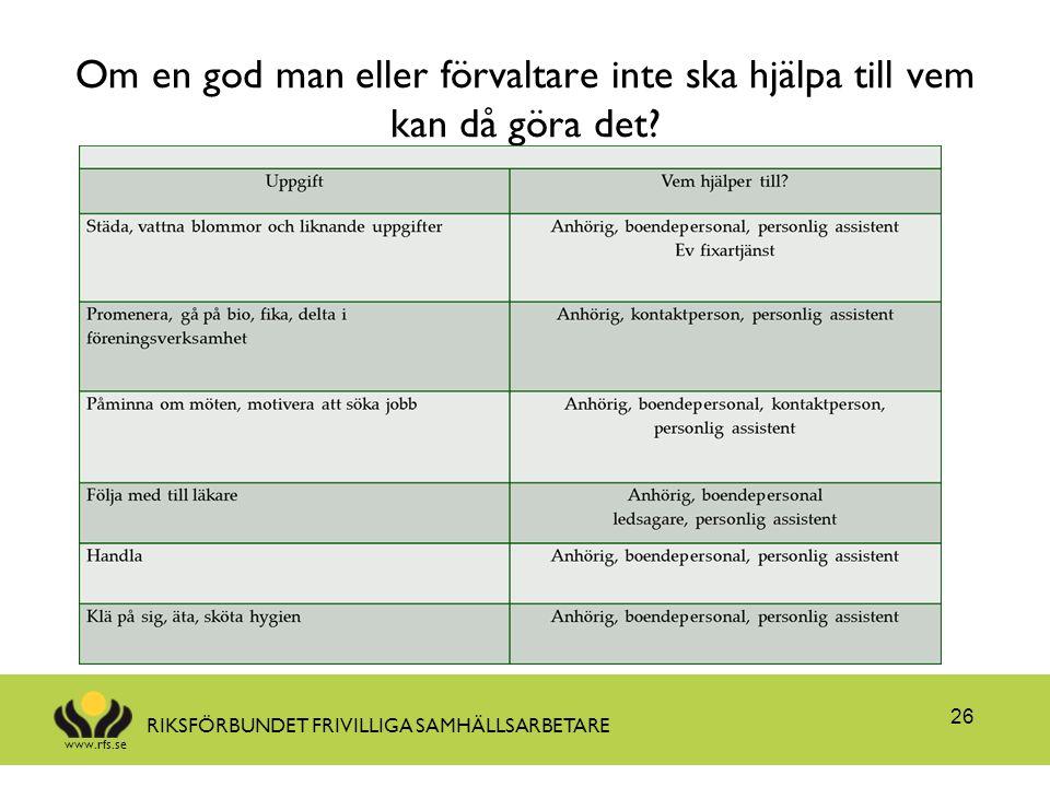 www.rfs.se RIKSFÖRBUNDET FRIVILLIGA SAMHÄLLSARBETARE Om en god man eller förvaltare inte ska hjälpa till vem kan då göra det? 26