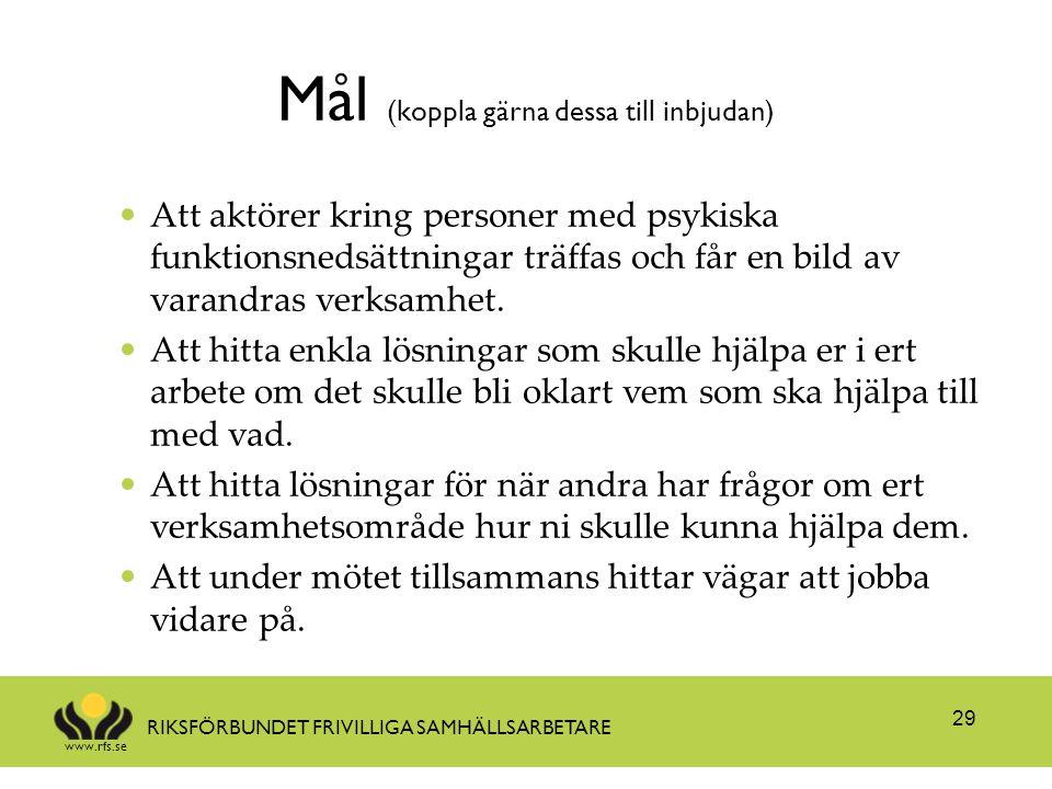 www.rfs.se RIKSFÖRBUNDET FRIVILLIGA SAMHÄLLSARBETARE Mål (koppla gärna dessa till inbjudan) Att aktörer kring personer med psykiska funktionsnedsättni