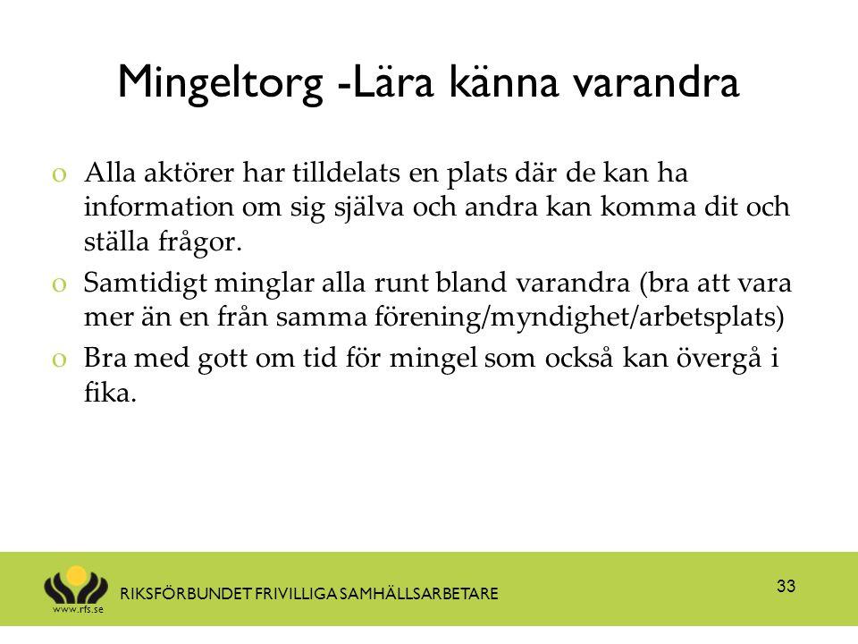 www.rfs.se RIKSFÖRBUNDET FRIVILLIGA SAMHÄLLSARBETARE Mingeltorg -Lära känna varandra oAlla aktörer har tilldelats en plats där de kan ha information o