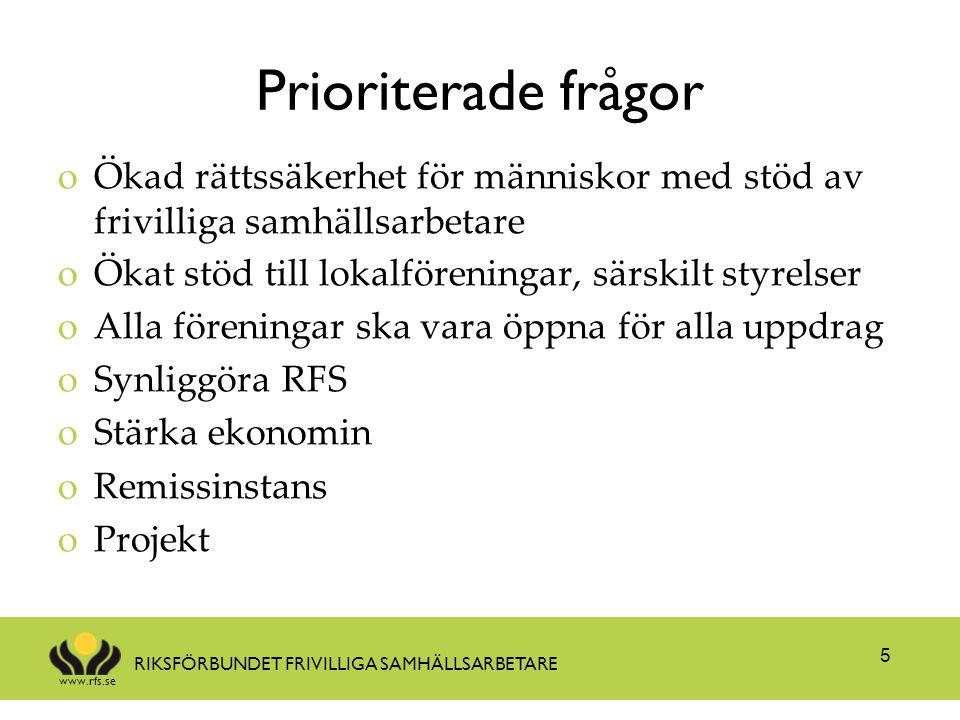 www.rfs.se RIKSFÖRBUNDET FRIVILLIGA SAMHÄLLSARBETARE Prioriterade frågor oÖkad rättssäkerhet för människor med stöd av frivilliga samhällsarbetare oÖk