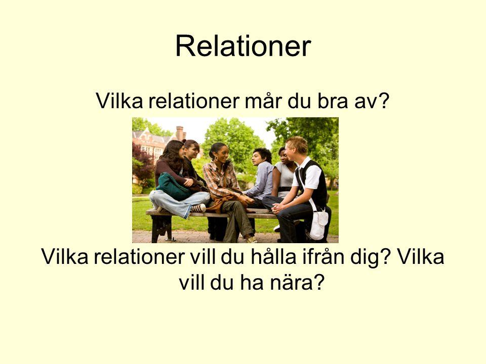 Relationer Vilka relationer mår du bra av? Vilka relationer vill du hålla ifrån dig? Vilka vill du ha nära?