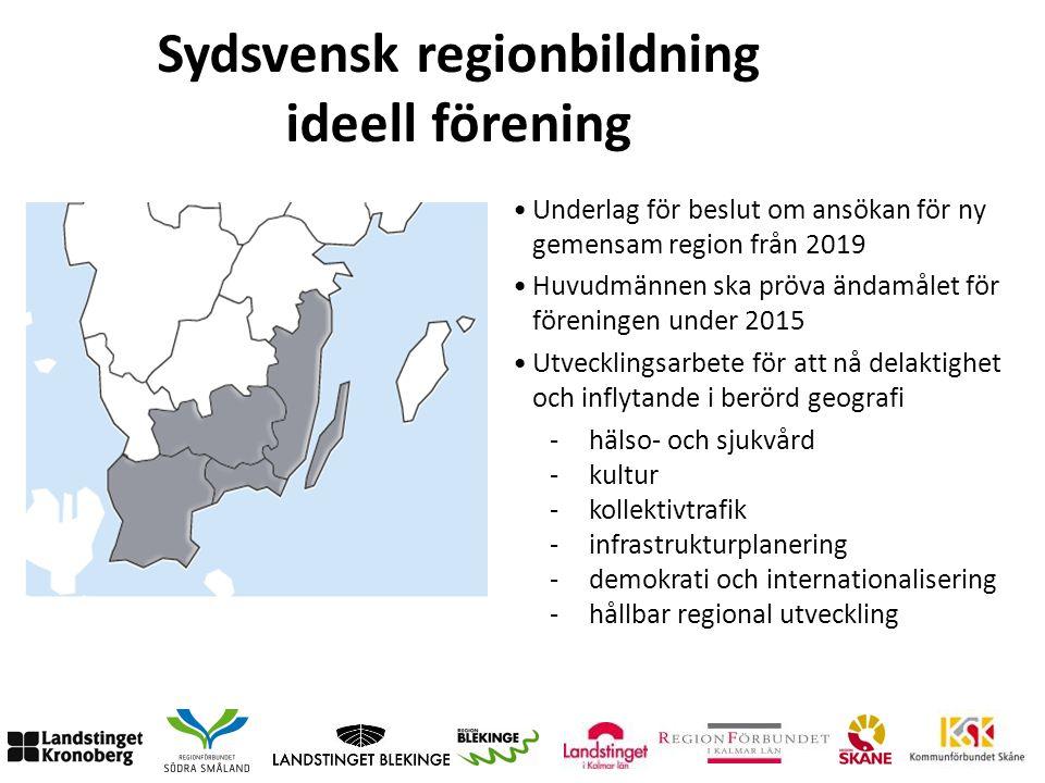 Sydsvensk regionbildning ideell förening -hälso- och sjukvård -kultur -kollektivtrafik -infrastrukturplanering -demokrati och internationalisering -hå