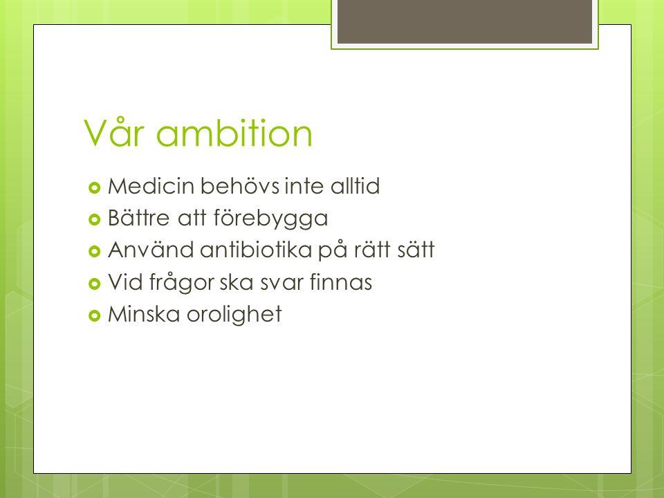 Vår ambition  Medicin behövs inte alltid  Bättre att förebygga  Använd antibiotika på rätt sätt  Vid frågor ska svar finnas  Minska orolighet