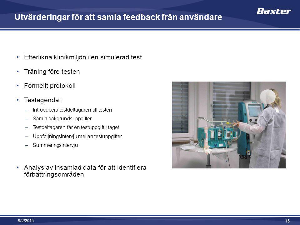 Utvärderingar för att samla feedback från användare Efterlikna klinikmiljön i en simulerad test Träning före testen Formellt protokoll Testagenda: –Introducera testdeltagaren till testen –Samla bakgrundsuppgifter –Testdeltagaren får en testuppgift i taget –Uppföljningsintervju mellan testuppgifter –Summeringsintervju Analys av insamlad data för att identifiera förbättringsområden 9/2/2015 15