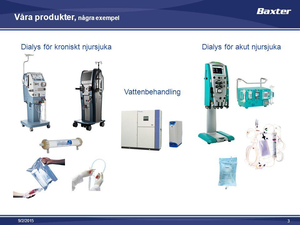 Våra produkter, några exempel 9/2/2015 3 Dialys för kroniskt njursjuka Vattenbehandling Dialys för akut njursjuka