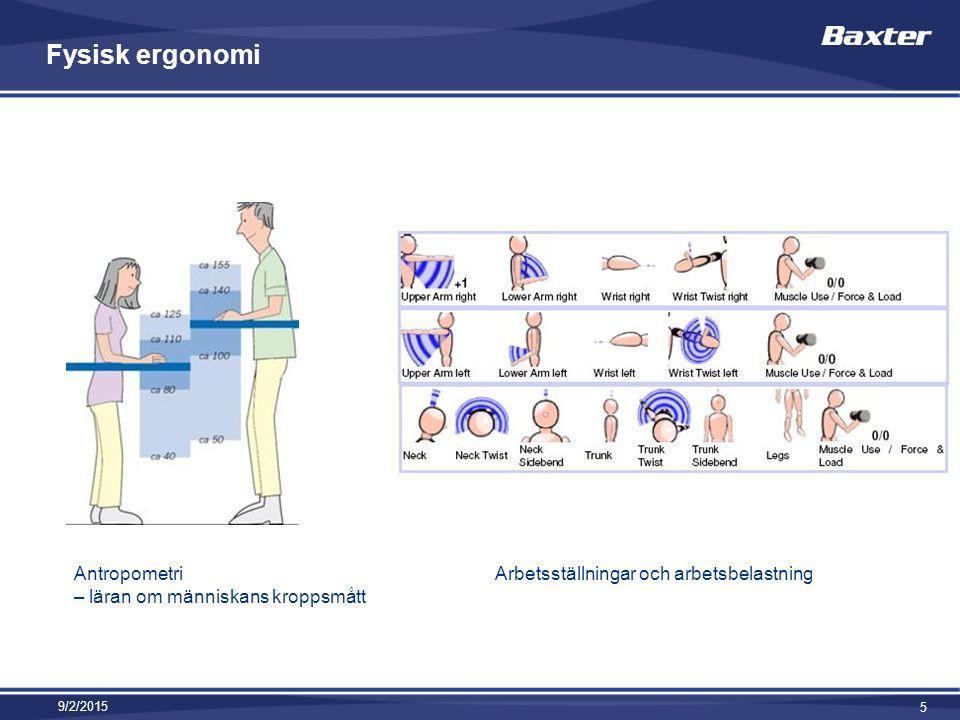 Fysisk ergonomi 9/2/2015 5 Antropometri – läran om människans kroppsmått Arbetsställningar och arbetsbelastning