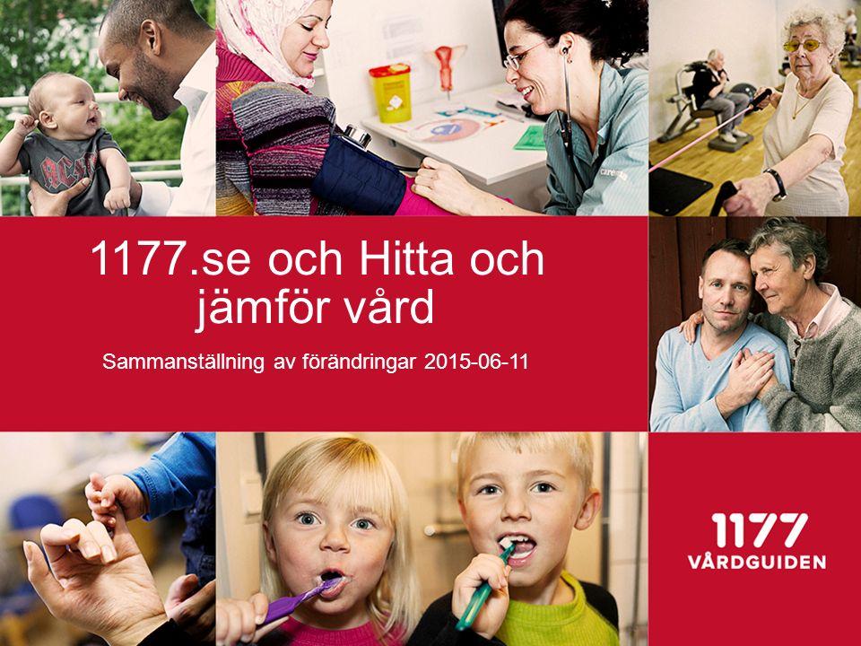 1177.se och Hitta och jämför vård Sammanställning av förändringar 2015-06-11