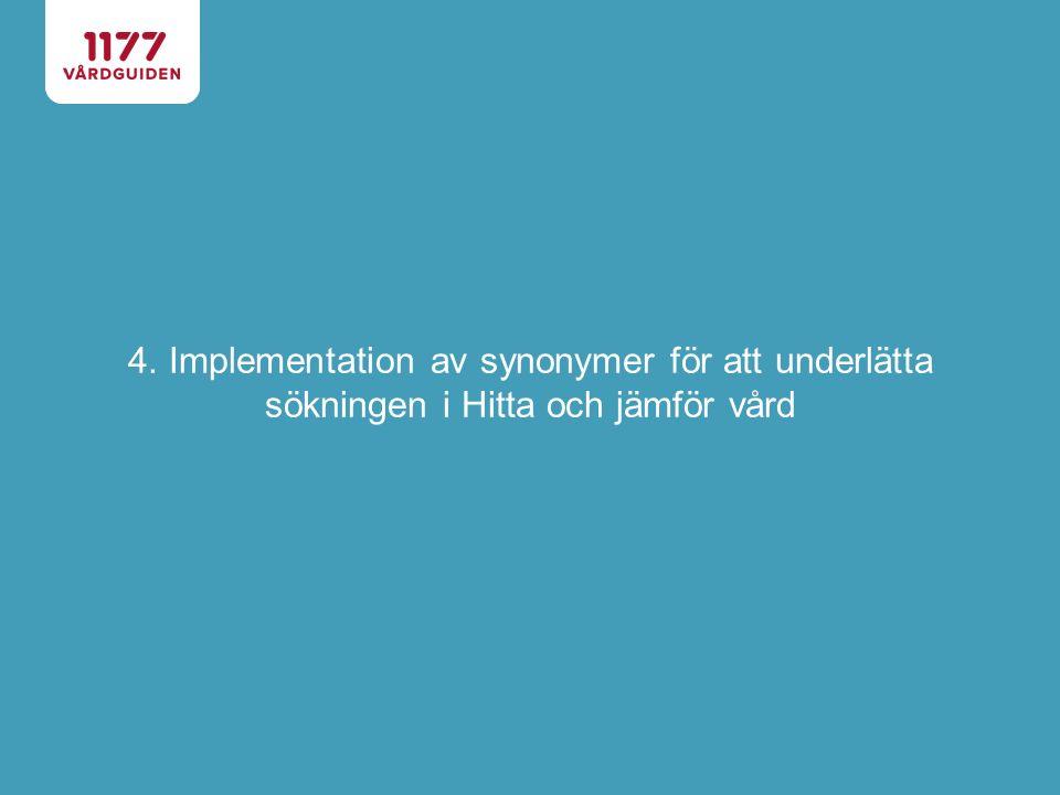 4. Implementation av synonymer för att underlätta sökningen i Hitta och jämför vård