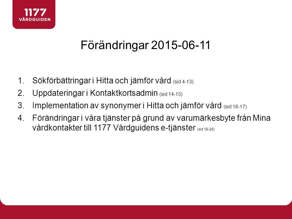 1.Sökförbättringar i Hitta och jämför vård (sid 4-13) 2.Uppdateringar i Kontaktkortsadmin (sid 14-15) 3.Implementation av synonymer i Hitta och jämför vård (sid 16-17) 4.Förändringar i våra tjänster på grund av varumärkesbyte från Mina vårdkontakter till 1177 Vårdguidens e-tjänster (sid 18-26) Förändringar 2015-06-11