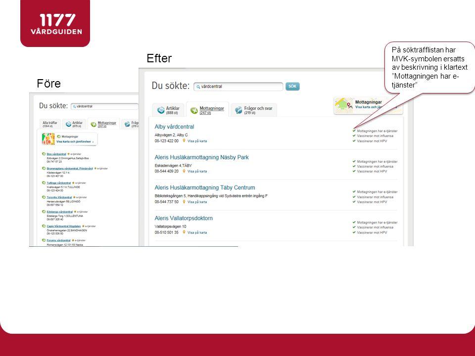 Före Efter På sökträfflistan har MVK-symbolen ersatts av beskrivning i klartext Mottagningen har e- tjänster