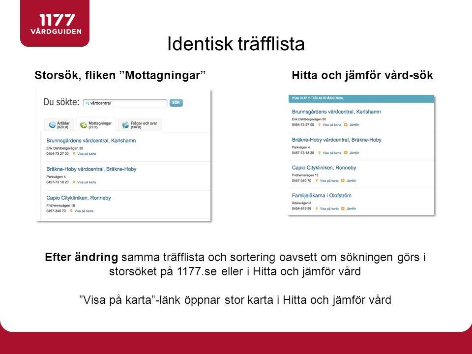 """Storsök, fliken """"Mottagningar""""Hitta och jämför vård-sök Efter ändring samma träfflista och sortering oavsett om sökningen görs i storsöket på 1177.se"""