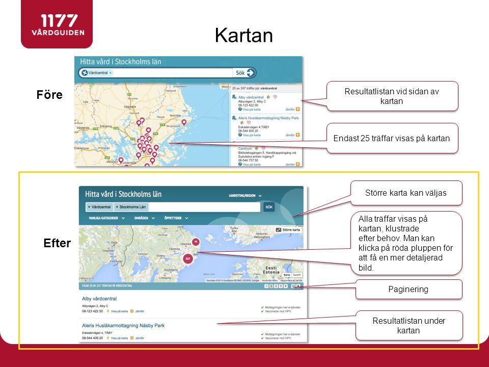 Före Efter Kartan Resultatlistan vid sidan av kartan Endast 25 träffar visas på kartan Större karta kan väljas Alla träffar visas på kartan, klustrade efter behov.