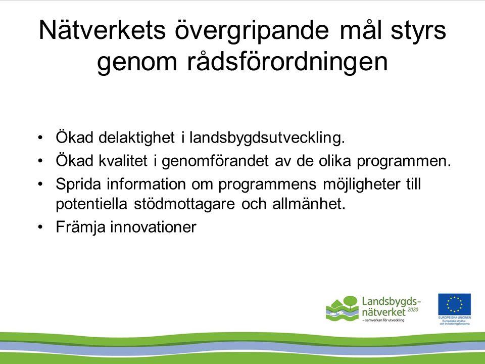 EU direktiv Svenska programmen Handlings- plan, stadgar och riktlinjer Aktivitets- plan och arbetsplaner -Behovsanalys -Medlemmar -Program- genomförande Extern utvärderare ska göra effekt- utvärdering Krav på redovisning av utfallsindikatorer i Årsrapporten till KOM Styrgruppen gör resultatuppföljning