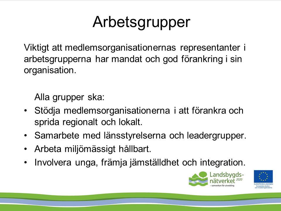 Aktuella arbetsgrupper Gröna Näringar – utökad Arbetsgrupp för samordning - etablerad Samordningsgrupp – utökad