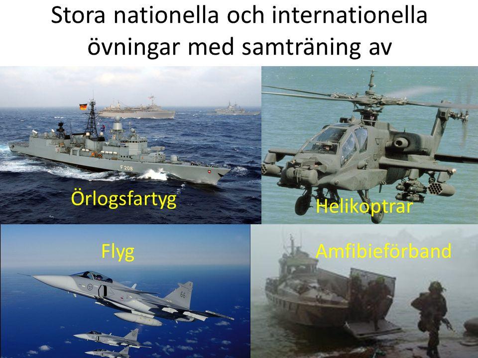 Stora nationella och internationella övningar med samträning av Örlogsfartyg Helikoptrar FlygAmfibieförband