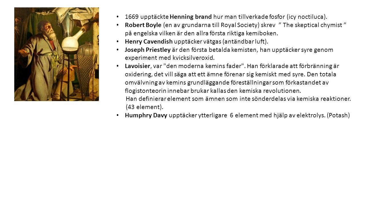 1669 upptäckte Henning brand hur man tillverkade fosfor (icy noctiluca).