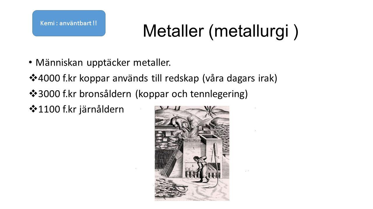 Metaller (metallurgi ) Människan upptäcker metaller.