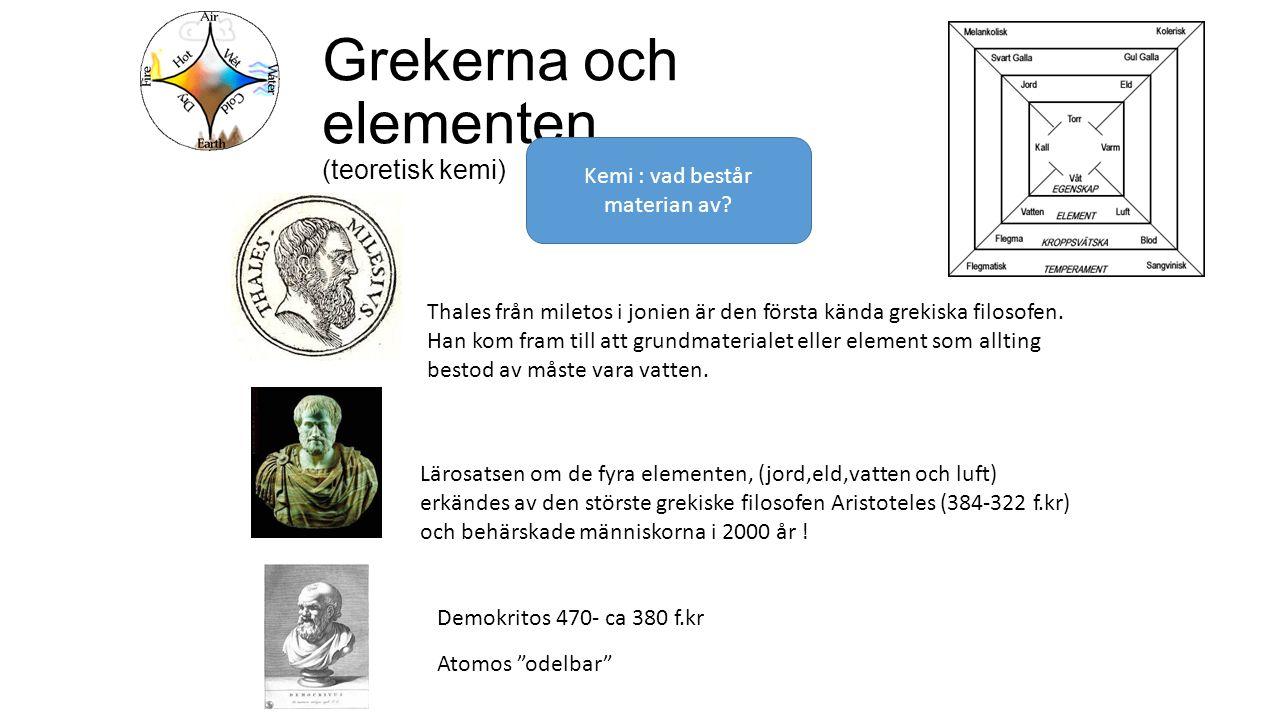 Grekerna och elementen (teoretisk kemi) Thales från miletos i jonien är den första kända grekiska filosofen.