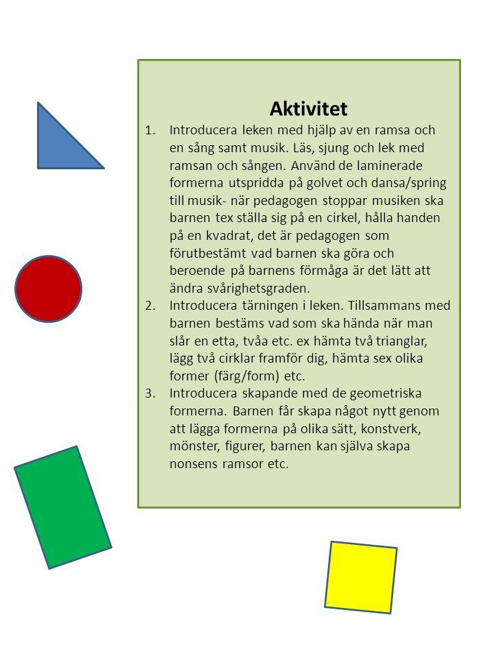 Material och förberedelser: Geometriska former som tillverkas av laminerat papper i färgerna gul, grön, blå och röd, 15 stycken i varje färg i formerna cirkel, kvadrat, rektangel och triangel.