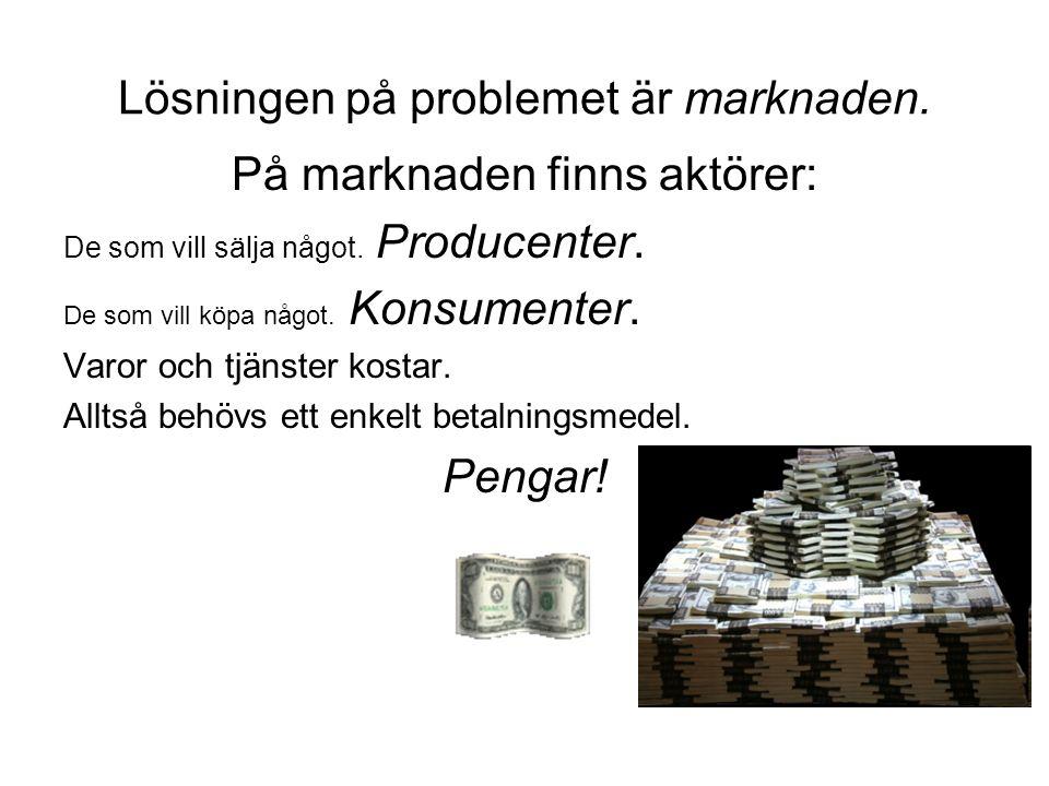 Lösningen på problemet är marknaden. På marknaden finns aktörer: De som vill sälja något. Producenter. De som vill köpa något. Konsumenter. Varor och