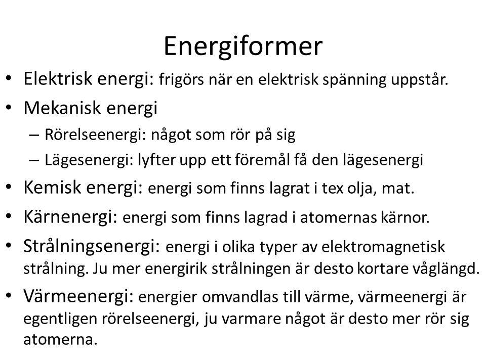 Energiformer Elektrisk energi: frigörs när en elektrisk spänning uppstår.