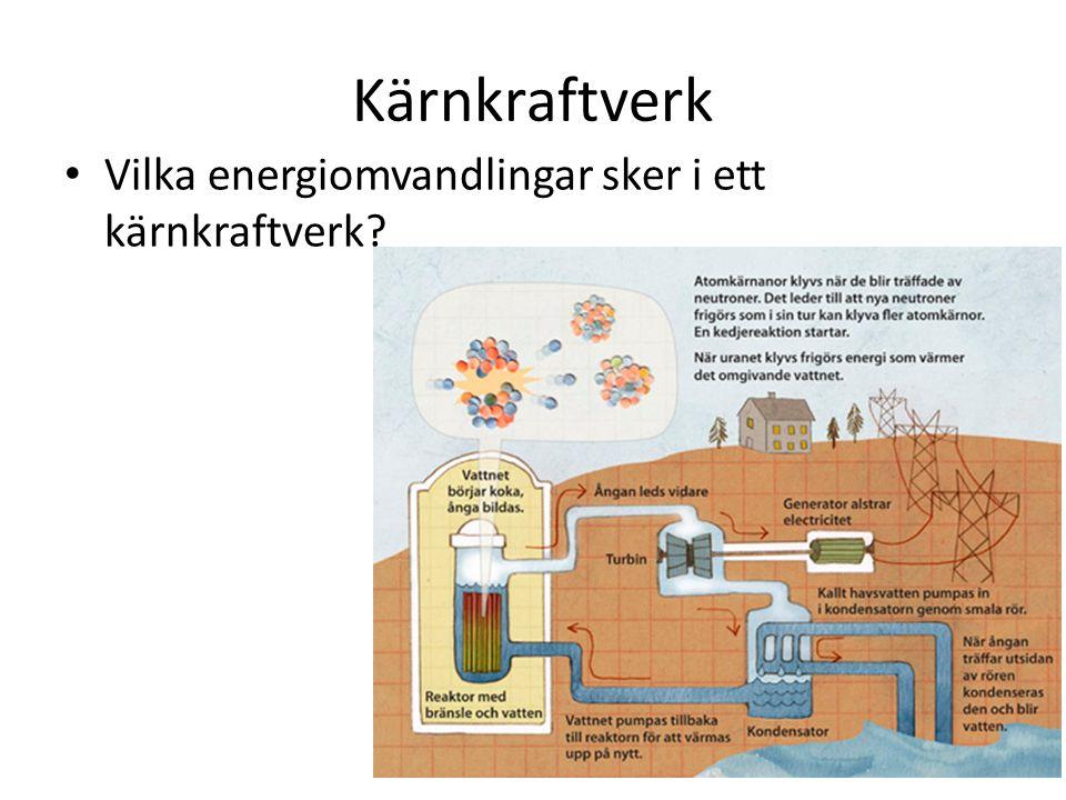 Kärnkraftverk Vilka energiomvandlingar sker i ett kärnkraftverk?