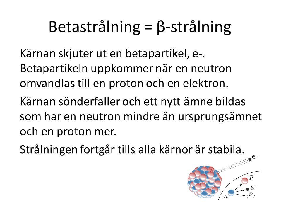 Vad stoppar alfa, beta… α Alfapartikeln är störst och därför är den lättast att stoppa.