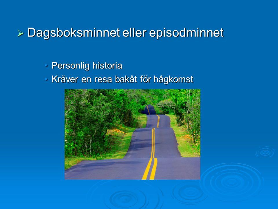  Dagsboksminnet eller episodminnet Personlig historiaPersonlig historia Kräver en resa bakåt för hågkomstKräver en resa bakåt för hågkomst