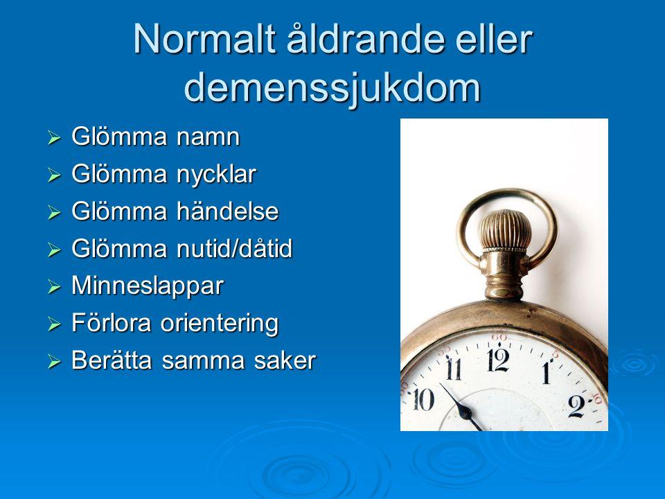 Normalt åldrande eller demenssjukdom  Glömma namn  Glömma nycklar  Glömma händelse  Glömma nutid/dåtid  Minneslappar  Förlora orientering  Berä