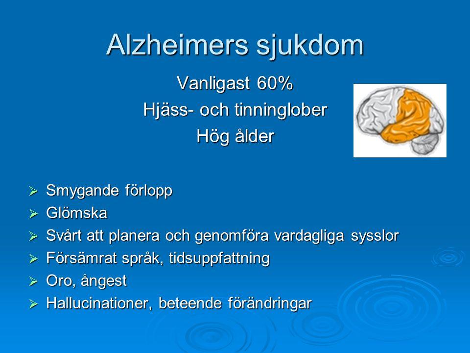 Alzheimers sjukdom Vanligast 60% Hjäss- och tinninglober Hög ålder  Smygande förlopp  Glömska  Svårt att planera och genomföra vardagliga sysslor 