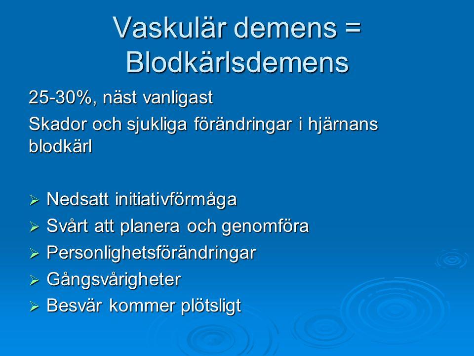 Vaskulär demens = Blodkärlsdemens 25-30%, näst vanligast Skador och sjukliga förändringar i hjärnans blodkärl  Nedsatt initiativförmåga  Svårt att p