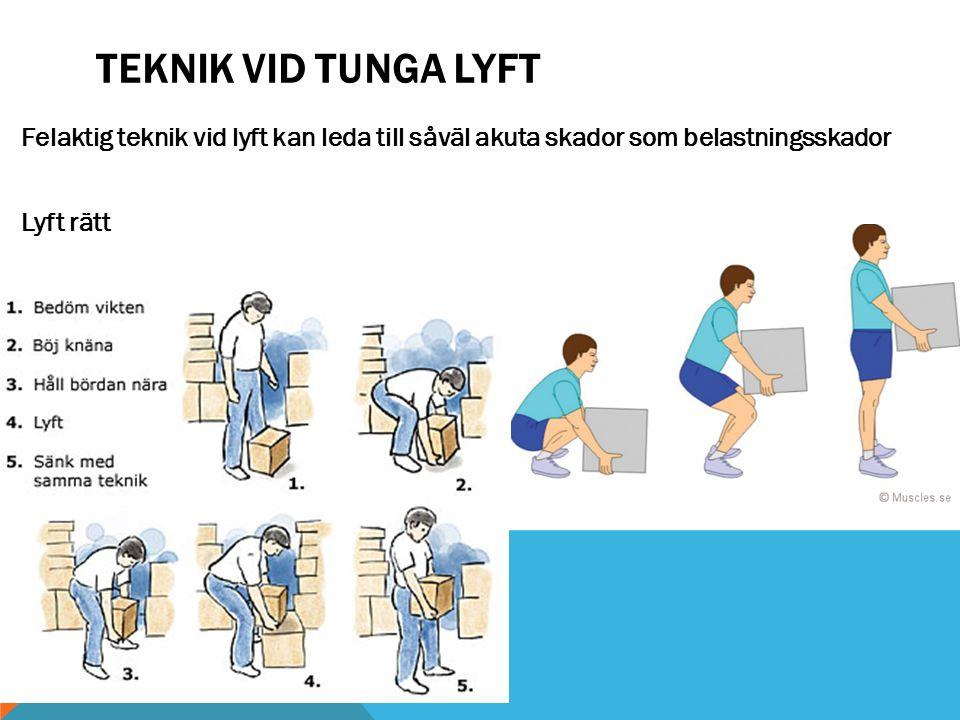 TEKNIK VID TUNGA LYFT Felaktig teknik vid lyft kan leda till såväl akuta skador som belastningsskador Lyft rätt