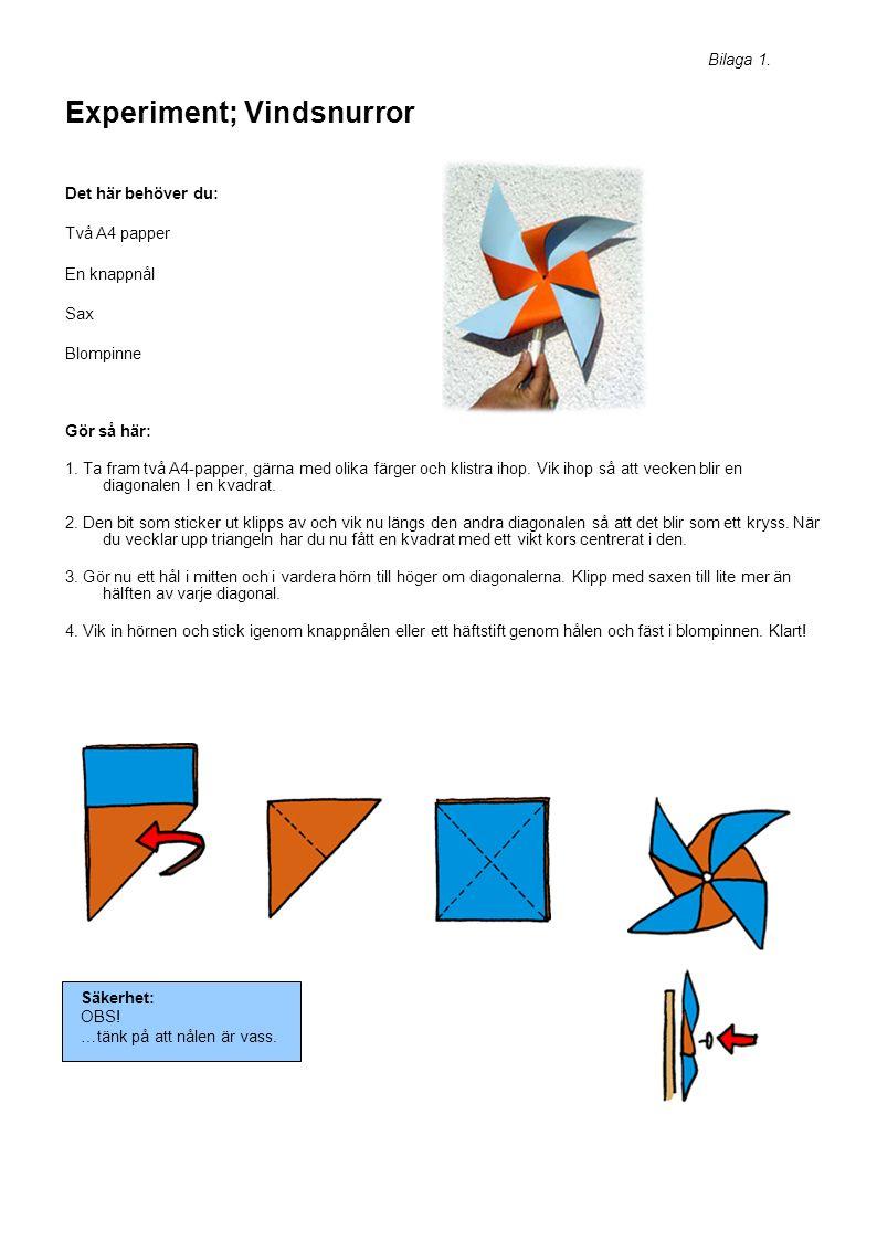 Experiment; Vindsnurror Det här behöver du: Två A4 papper En knappnål Sax Blompinne Gör så här: 1.