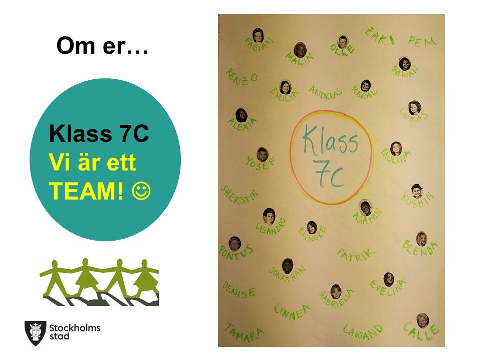 Om er… Klass 7C Vi är ett TEAM!